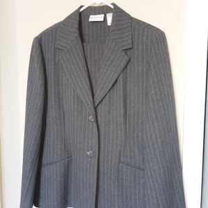 ALFRED DUNNER 2 PC LADIES PINSTRIPE PANT SUIT S 14